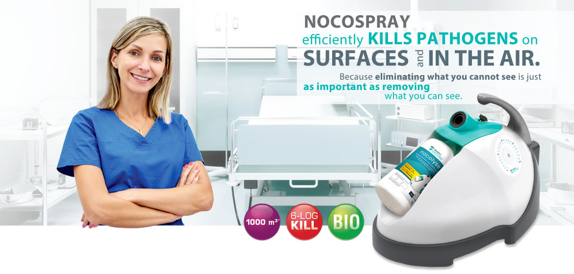 Nocospray efficiently kills pathogens on surfaces and in the air.
